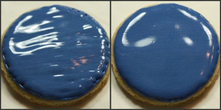 Decorated cookied before and after shaking