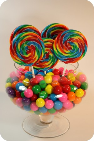 gumballs and swirl lollipops