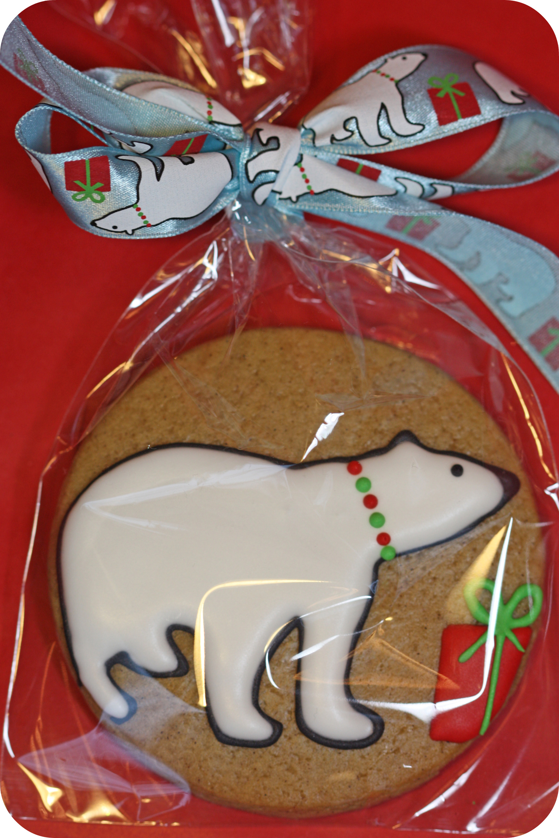 decorated polar bear gingerbread cookie