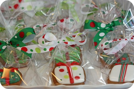 gift cookies wrapped with matching ribbon