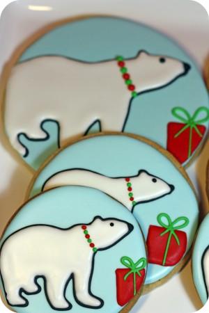 polar bear sugar cookies on a cake stand